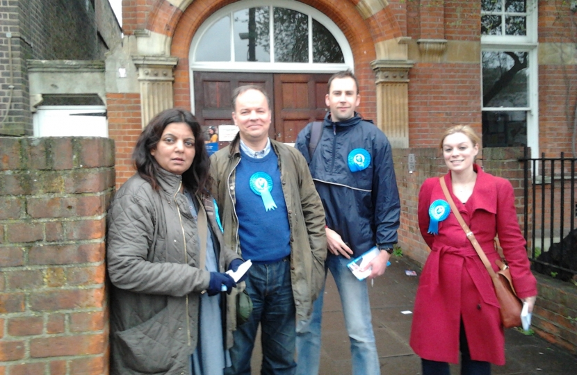 Cllr Michael Mitchell campaigning with Vauxhall Conservatives in Clapham